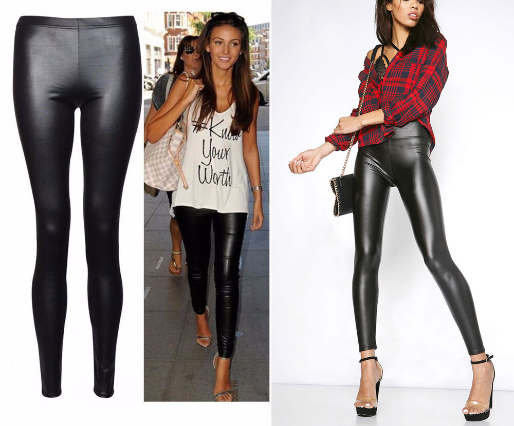 Womens Ladies High Waisted PVC Leather Wet Look Leggings ...