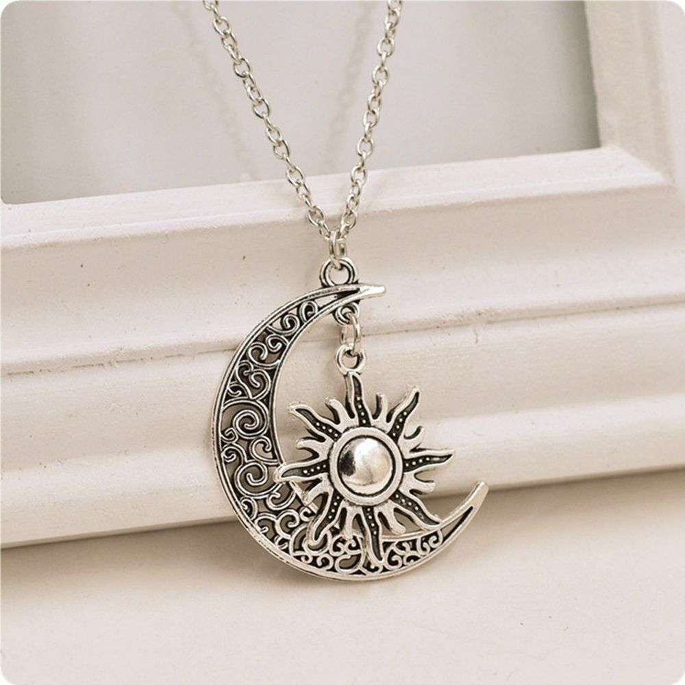 Charm Fashion Jewelry Crescent Necklace Pendant Sun And