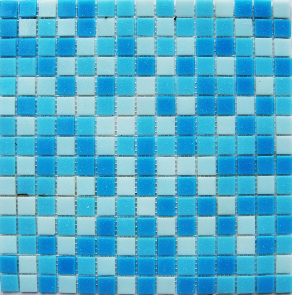 1 sheet 327x327mm blue mixed glass mosaic tiles for swimming pool spa bathroom ebay for Glass mosaic swimming pool tiles