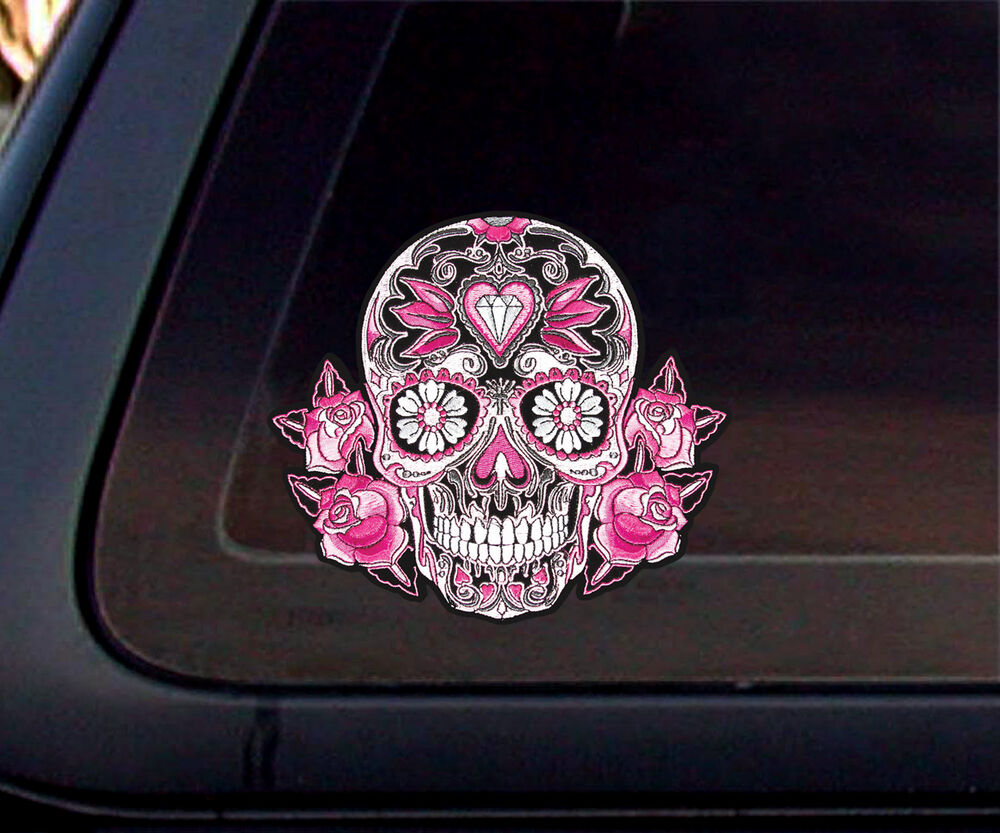 Pink Rose Calavera Sugar Skull Car Decal Sticker Ebay