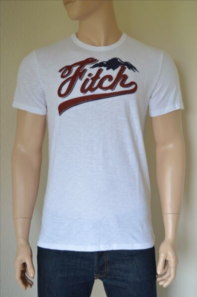 NEW Abercrombie & Fitch Logo Graphic Tee White Mountain T-Shirt XL
