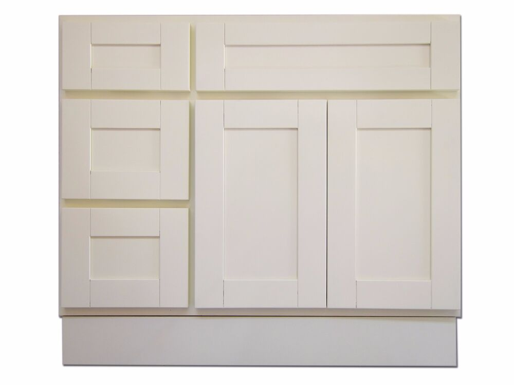 36 vanity cabinet with left drawers creme white ebay