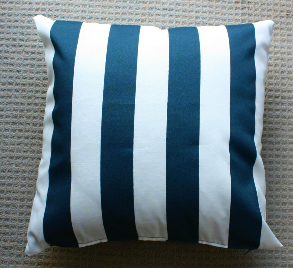 Outdoor indoor 2 sided cushion cover navy blue striped