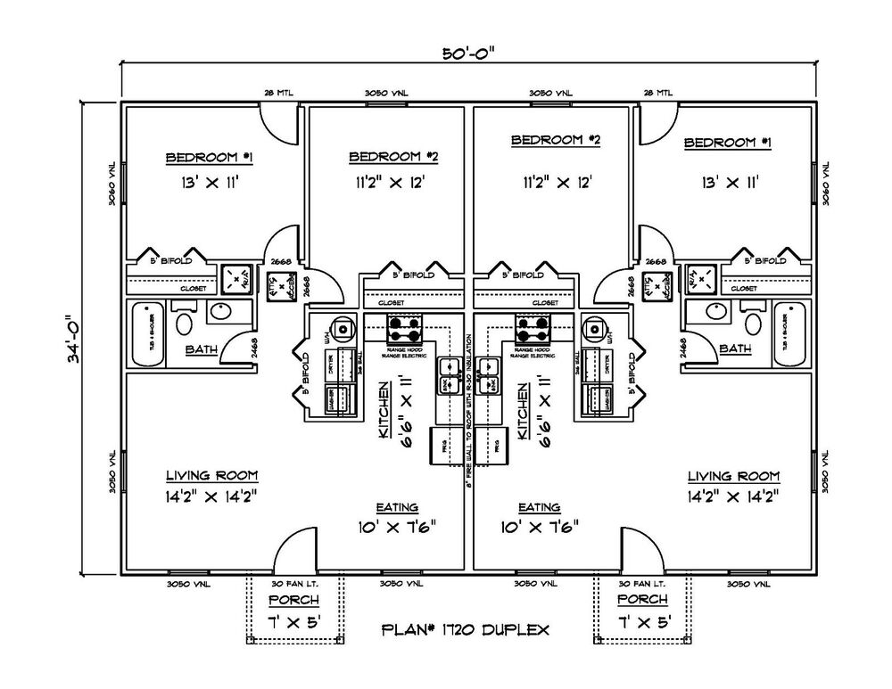 Set Of Plans For Affordable Duplex 1700 Sq Ft Htd Ebay