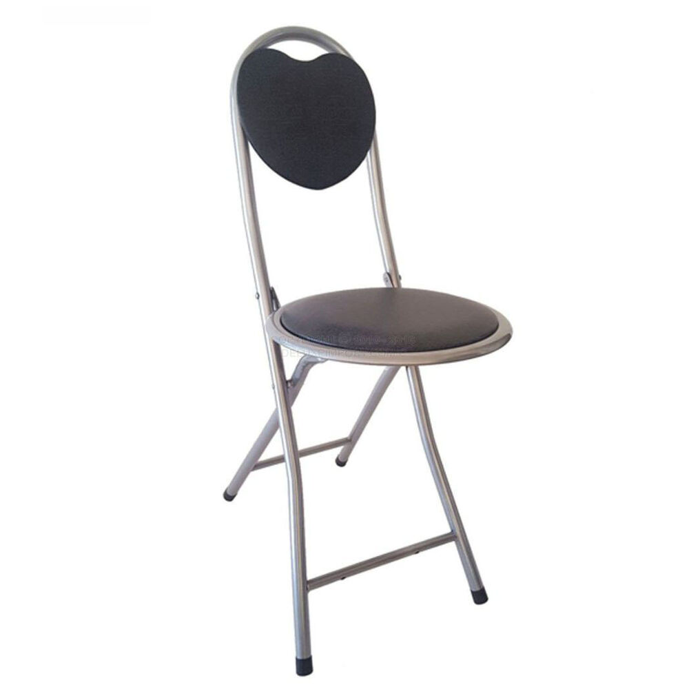 Dlux Small Folding Chair With Heart Shaped Back Support