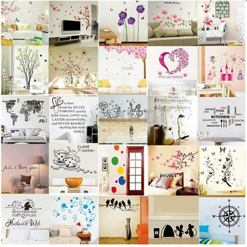 Removable vinyl art quote wall decal stickers bedroom for Diy photo wall mural