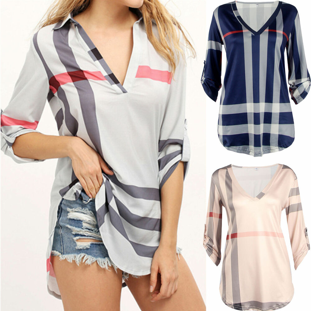 Women Plaid Blouse Ladies Casual Long Sleeve Shirt Loose