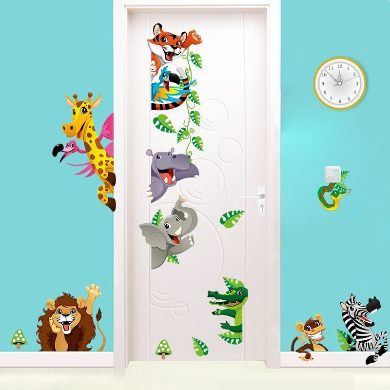 wandtattoo wandaufkleber sticker kinderzimmer tiere giraffe elefant zebra l we ebay. Black Bedroom Furniture Sets. Home Design Ideas