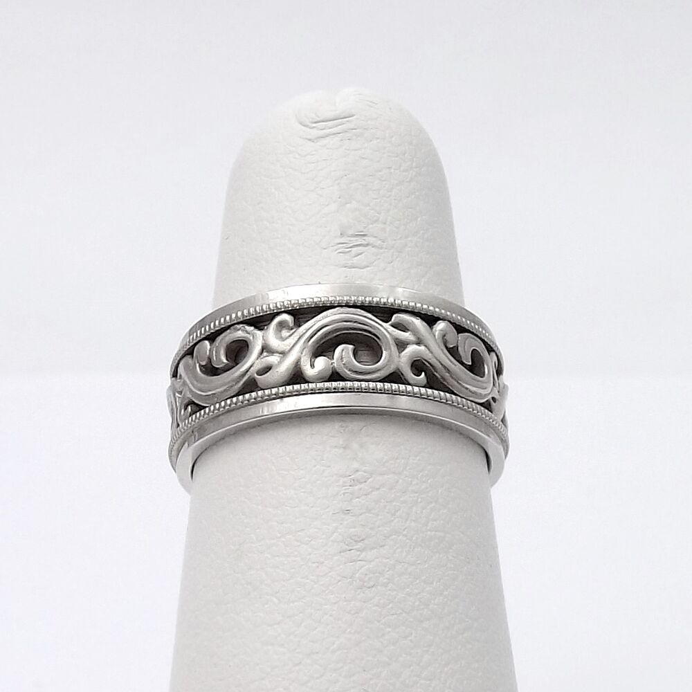 New Artcarved 14k White Gold Carved Scroll Milgrain Design