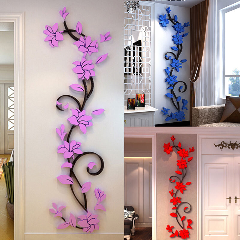 Purple Pollen Removable Wall Art Decal Sticker Diy Home: 3D Flower Home&Room Decor DIY Wall Sticker Removable