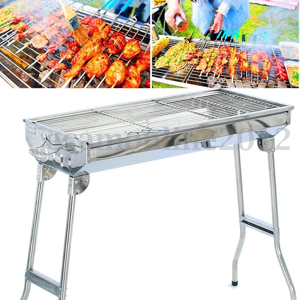 Stainless steel folding barbecue charcoal bbq grill stand