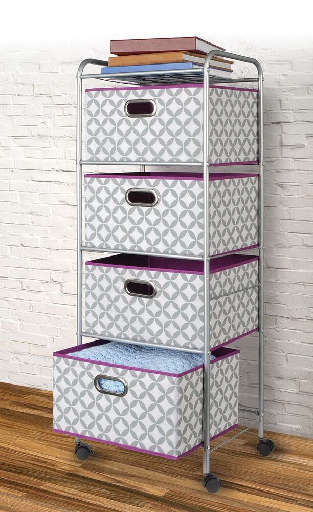New rolling 47 utility storage cart 4 large fabric bin for Rolling craft cart with drawers