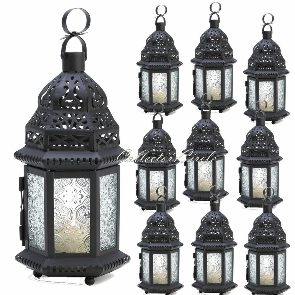 Frosted clear glass moroccan candle lanterns party