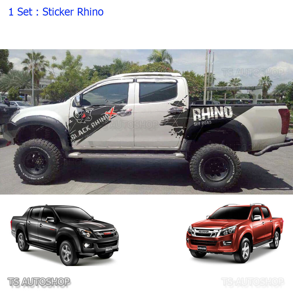 Matte Black Rhino Sticker Off Road Vinyl Isuzu Holden D