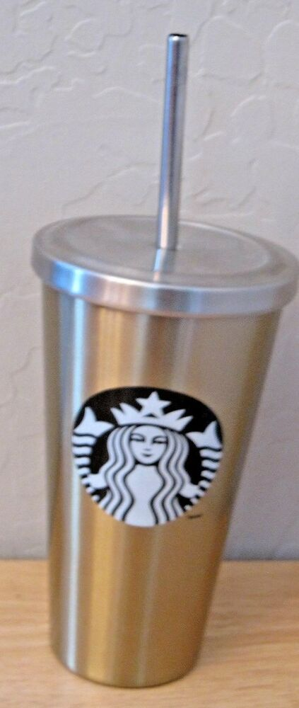 2014 STARBUCKS GOLD STAINLESS STEEL COLD CUP TUMBLER WITH METAL STRAW | eBay
