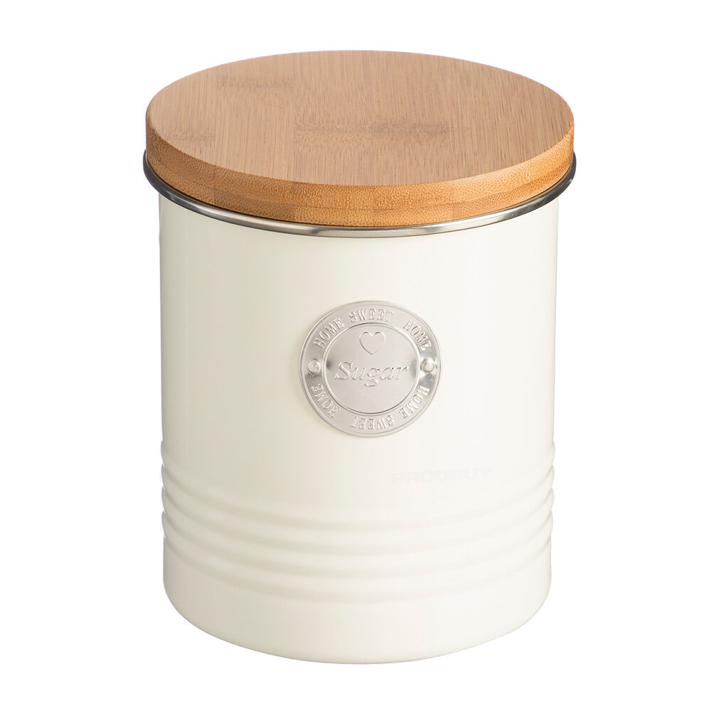 Cream Kitchen Storage Jars: 1000ml Vintage Cream Enamel Kitchen Storage Canister Jar