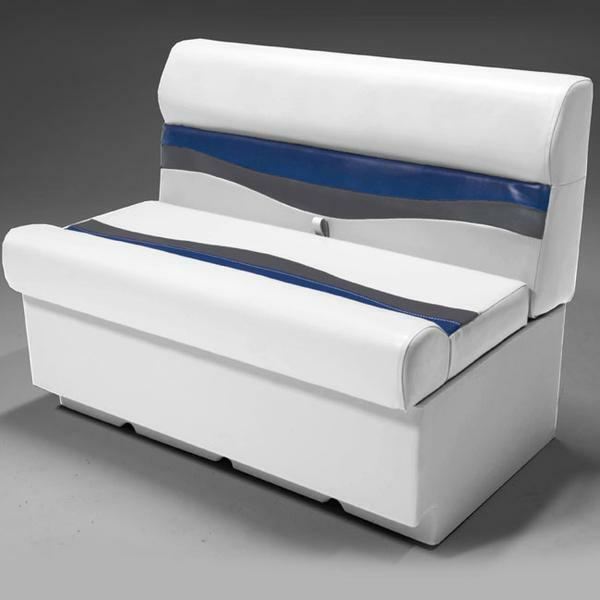 """38"""" Pontoon Boat Seat In Gray, Blue And Charcoal"""