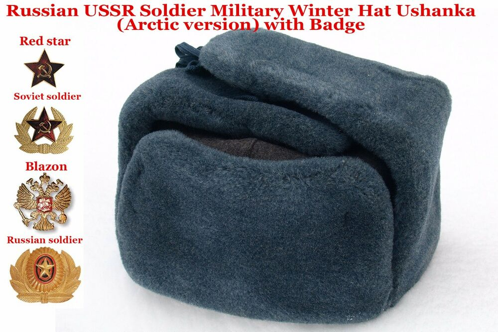12103872854 Details about Original Ushanka Russian USSR Soldier Military Winter Hat  with Badge Arctic ver.