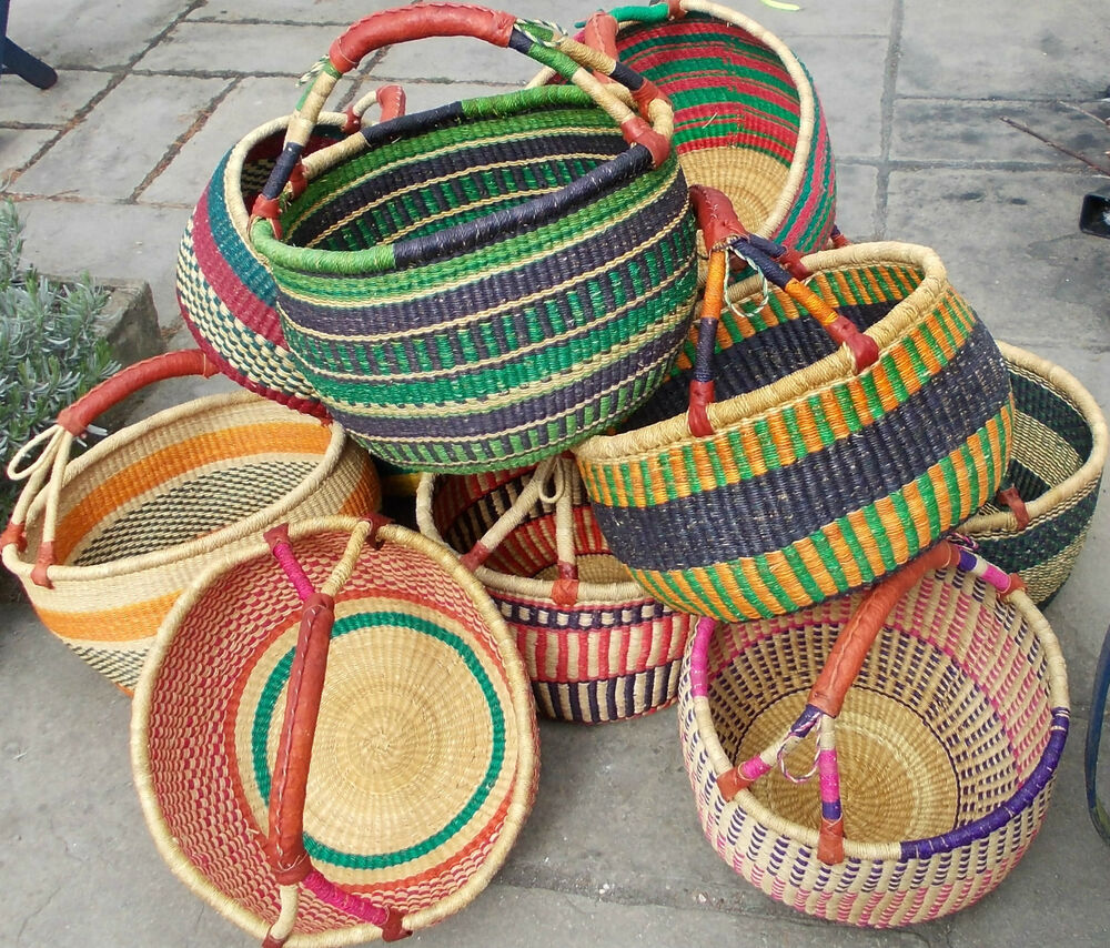 African Baskets: African Bolga Basket B. Storage, Beach, Picnic Basket