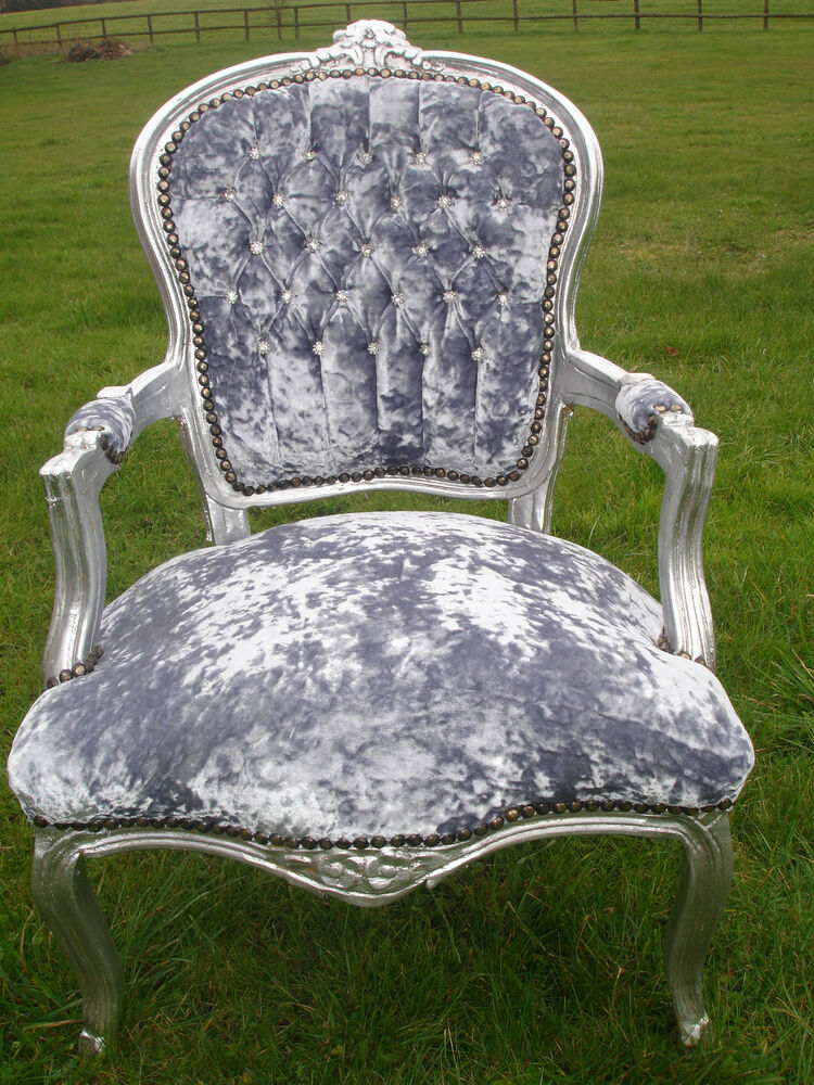 Silver grey crushed velvet diamante french louis salon chair with silver frame ebay