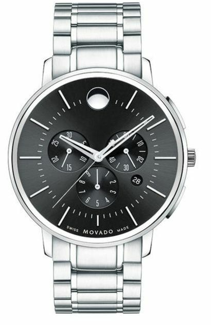 movado men s watches new used luxury vintage movado ultra thin chronograph 0606886 black dial stainless steel men s watch