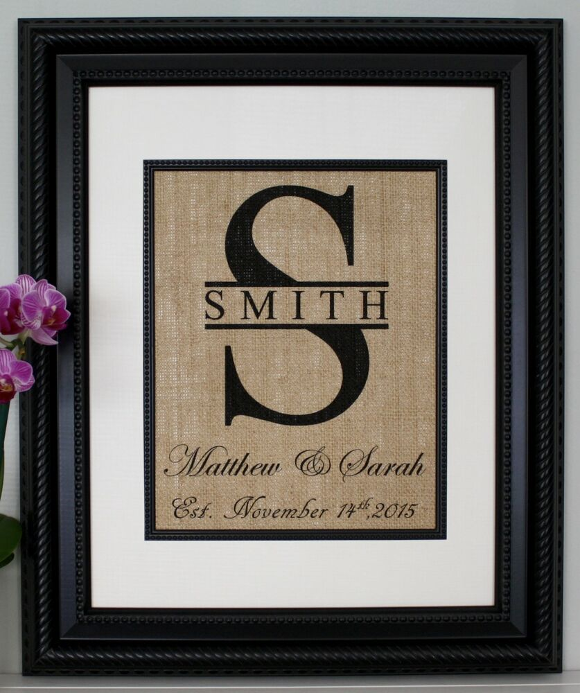 Personalized Wedding Gifts: Personalized Burlap Print, Wedding Gift, Anniversary Gift
