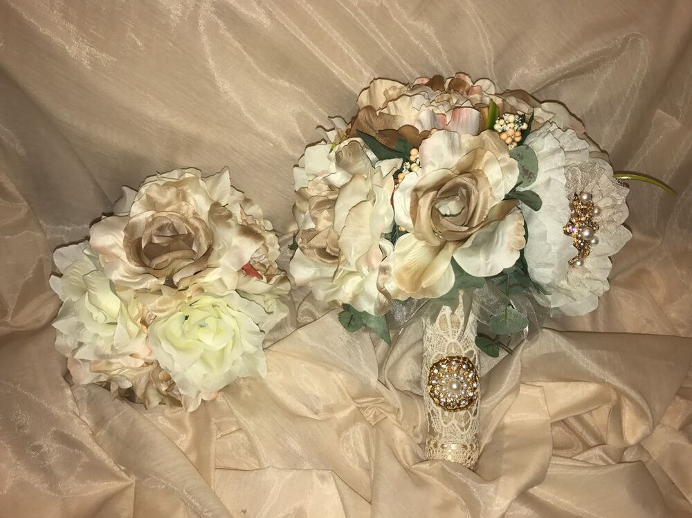 wedding bridal bouquet set decoration package silk flowers champagne cream ebay. Black Bedroom Furniture Sets. Home Design Ideas