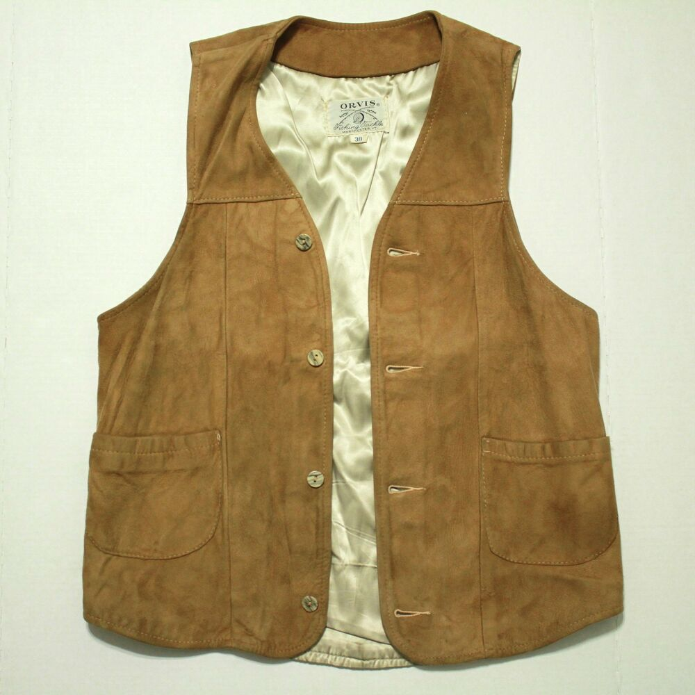 Vintage orvis fishing tackle script leather suede vest for Orvis fishing vest