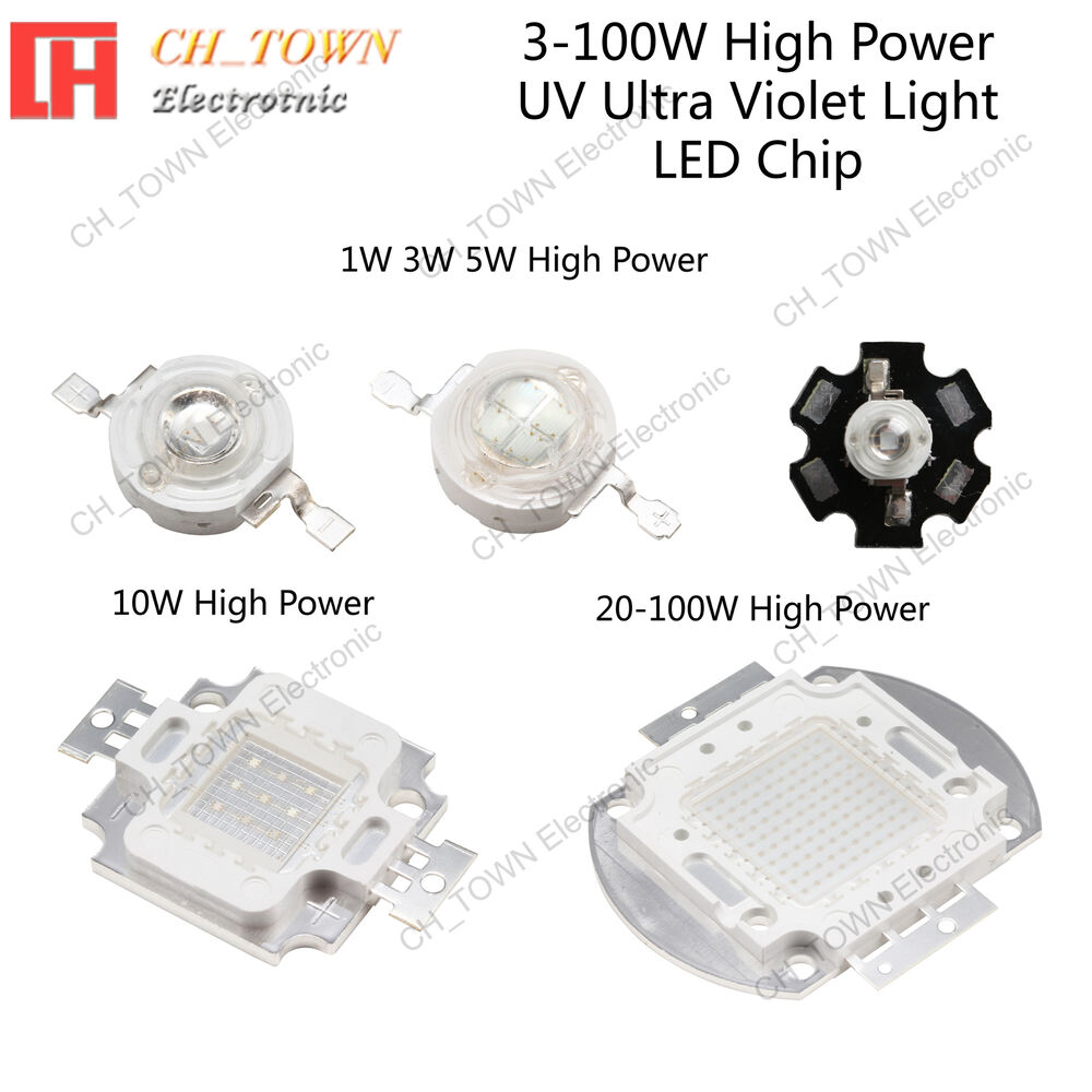 3w 5w 10w 20w 30w 50w 100w uv ultra violet high power led chip light usa seller ebay. Black Bedroom Furniture Sets. Home Design Ideas