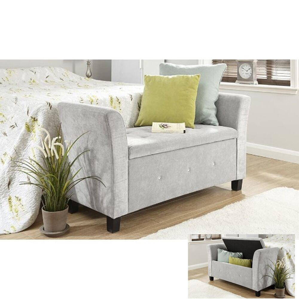 Fabric Storage Bench Chaise Longue Deluxe Stool Bedroom