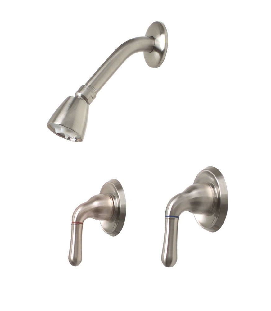 Premier Sanibel Brushed Nickel Two Lever Handles Shower Faucet Set With Valve
