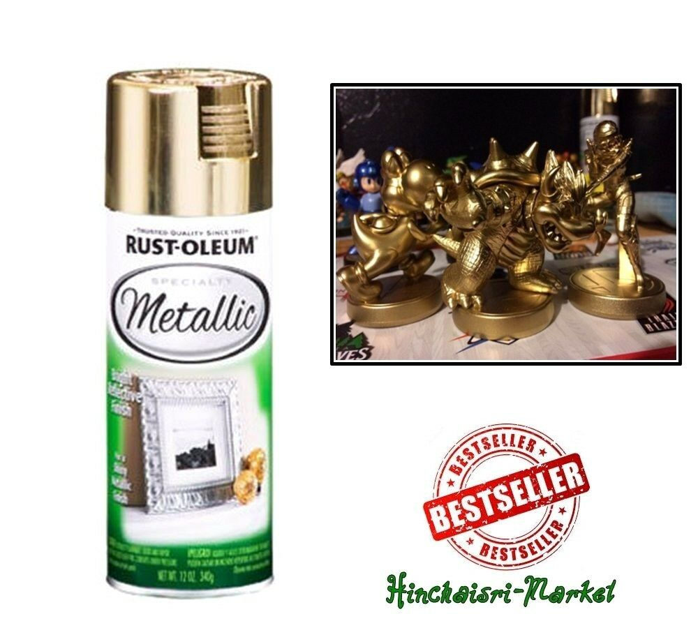 Shiny Metallic Gold Spray Paint Lacquer Fast Dry Rustoleum Can Painting 11oz Ebay