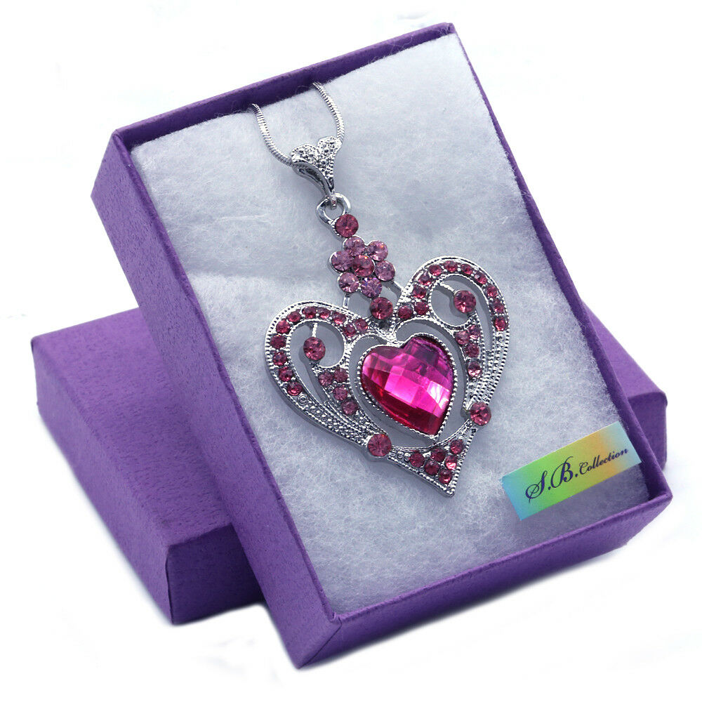new valentines day gift pink pendant necklace silver