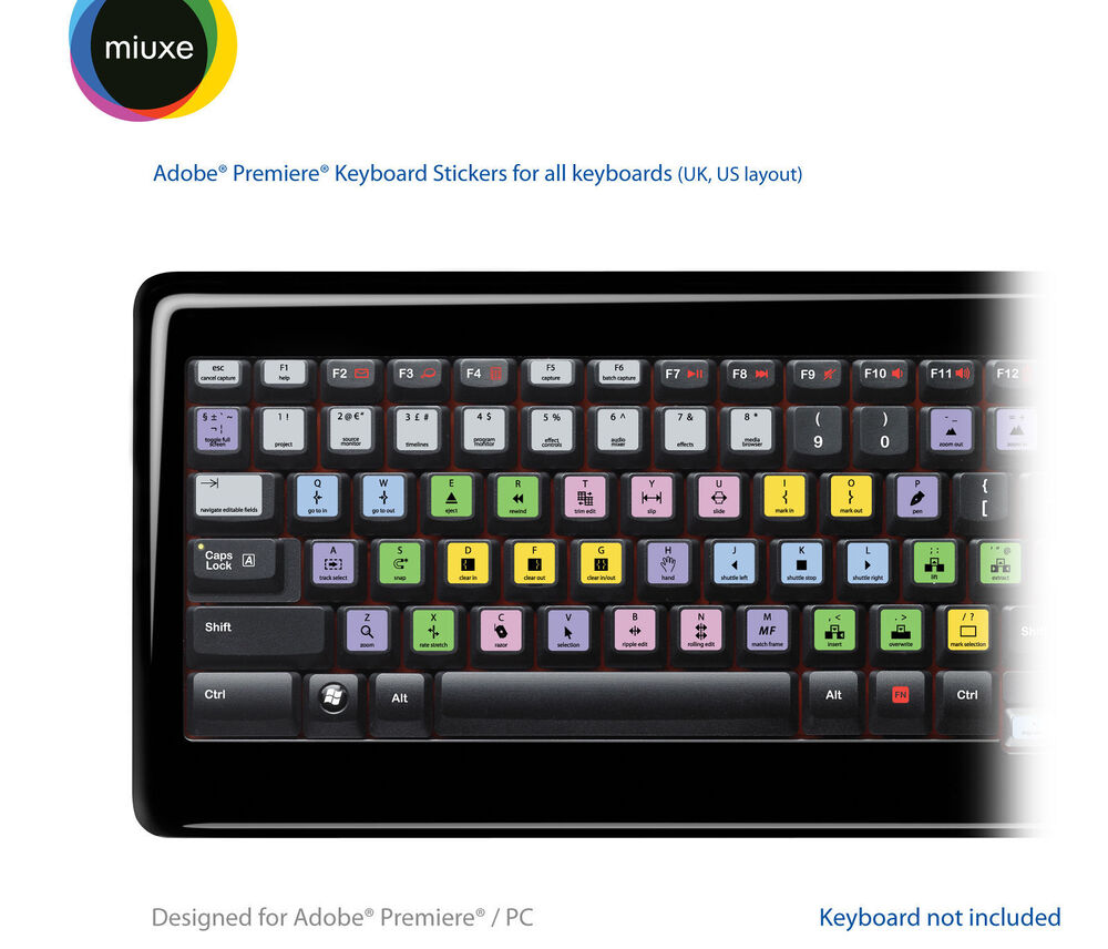 adobe premiere pro keyboard stickers all keyboards qwerty uk us ebay. Black Bedroom Furniture Sets. Home Design Ideas