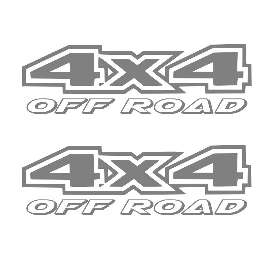 2 silver 4x4 off road decal sticker ford gmc chevy dodge