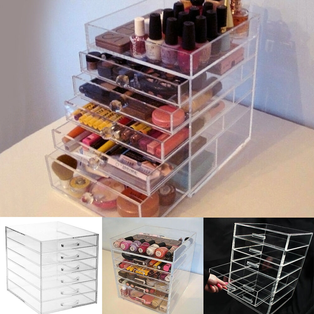 Large 6 Tier Beauty Clear Acrylic Cosmetic Makeup