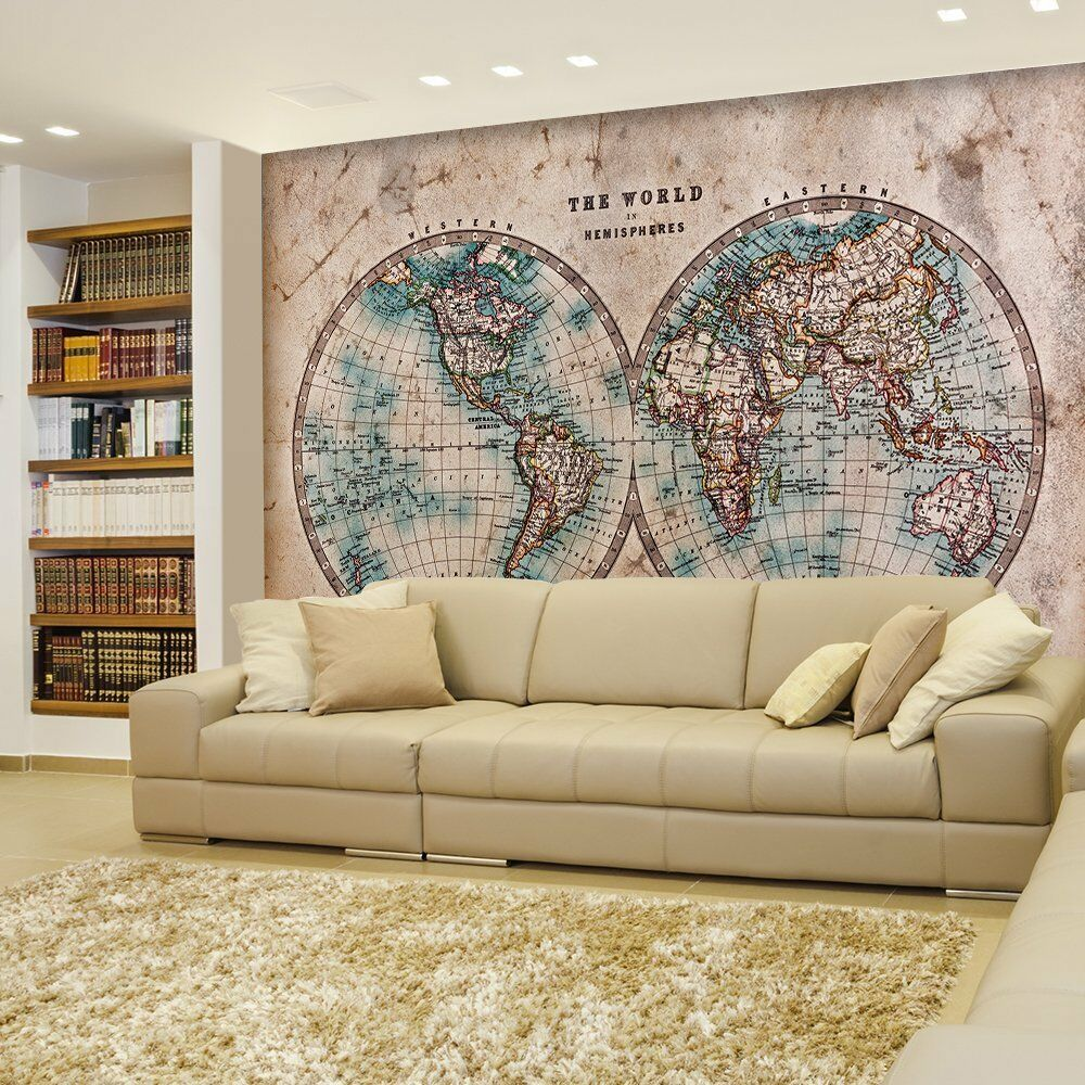 Two hemisphered antique full color map of the world wall for Antique map wall mural