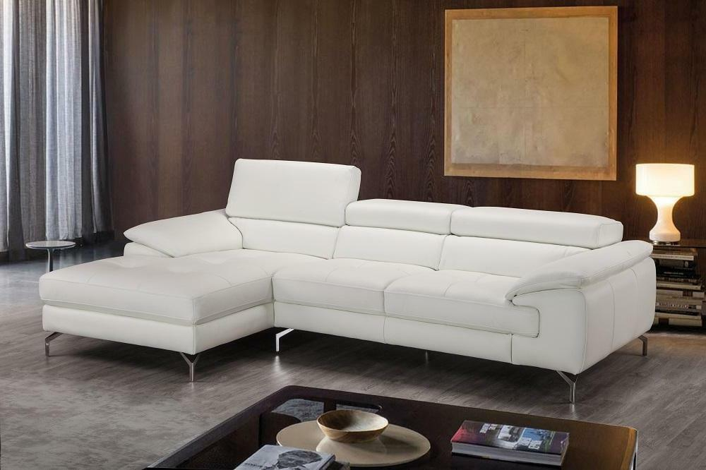 White Premium Italian Leather Sectional Sofa Left Hand Chaise J&M ...