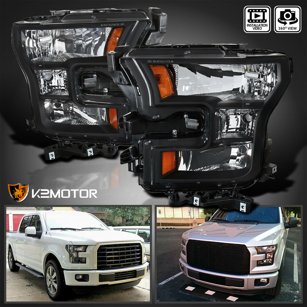 Smoked F150 Headlights >> [Black] 2015-2017 Ford F150 F-150 Replacement Headlights Head Lamps Left+Right | eBay