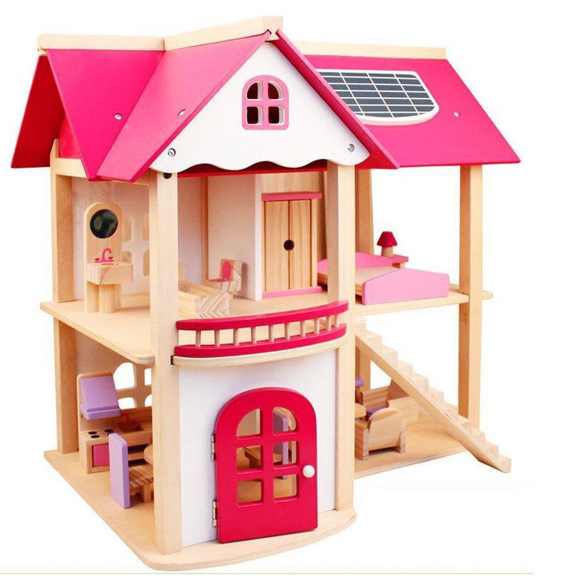 Large Child Kids GIFT Wooden Toy 2 LEVEL DOLL HOUSE
