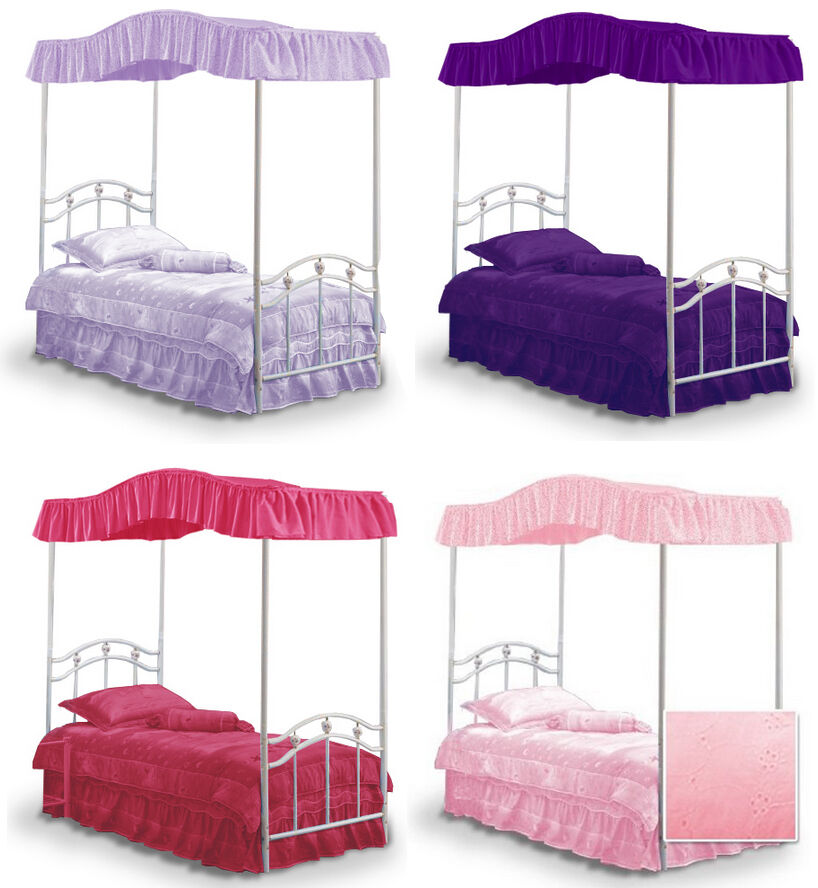 fc502 new full size princess bed canopy fabric top cover ruffled drape curtain ebay. Black Bedroom Furniture Sets. Home Design Ideas