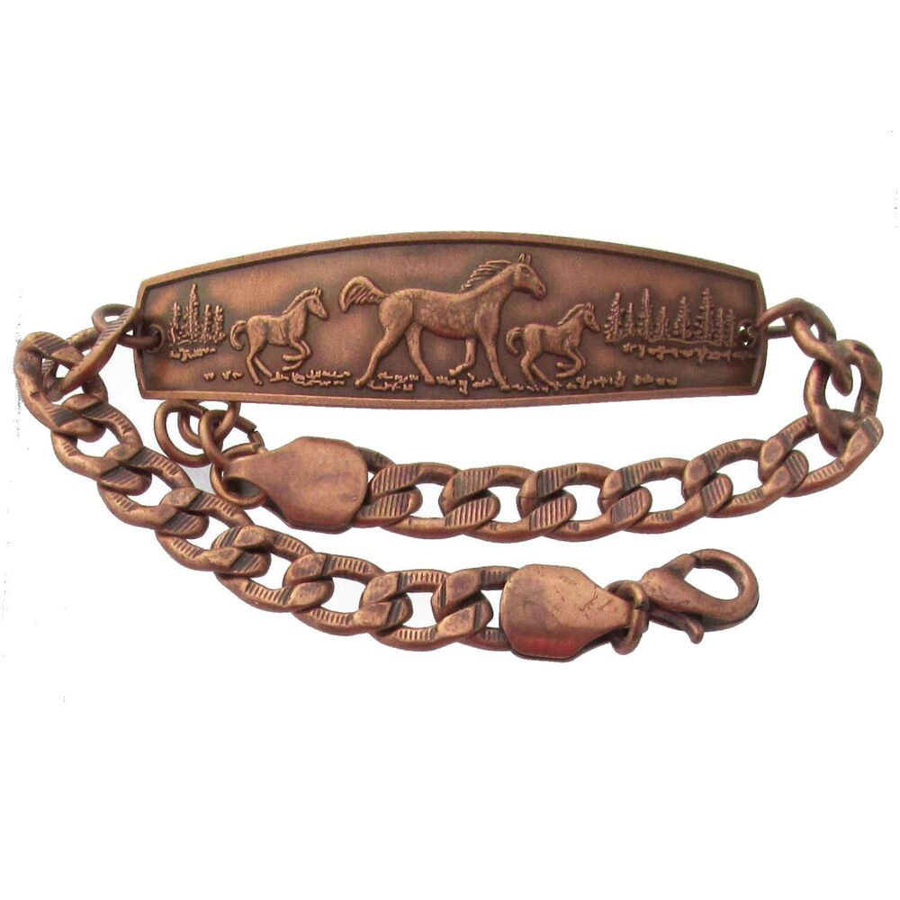 Solid Copper Bracelet Horses Unique Handmade Western Style Jewelry Chain Link Ebay