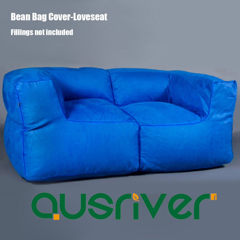 Premium Blue Suede Beanbag Bean Bag Cover 2 Seater Sofa Couch Loveseat Bb2pblu Ebay