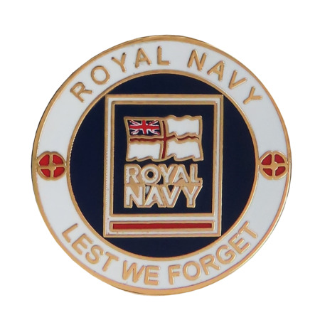 img-Royal Navy RN Crest Lest We Forget Pin Badge - MOD Approved