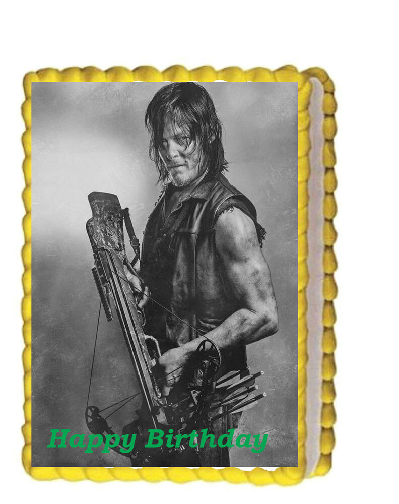 The Walking Dead Daryl Dixon Birthday Party Edible Cake Topper 1 4 Icing Sheet Ebay