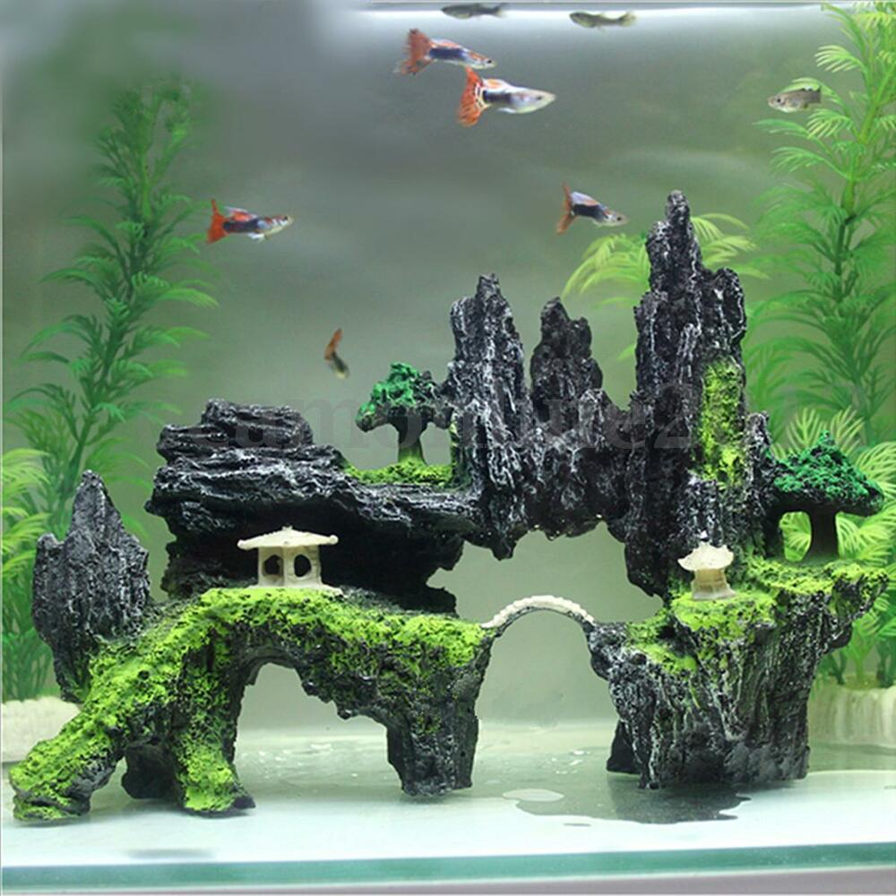 Resin mountain view cave stone tree pavilion aquarium for How to decorate fish tank