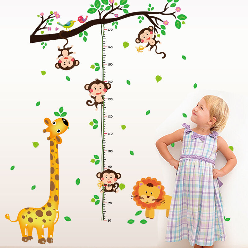 wandtattoo messlatte gr e kinderzimmer dschungel affe l we giraffe kind m dchen ebay. Black Bedroom Furniture Sets. Home Design Ideas