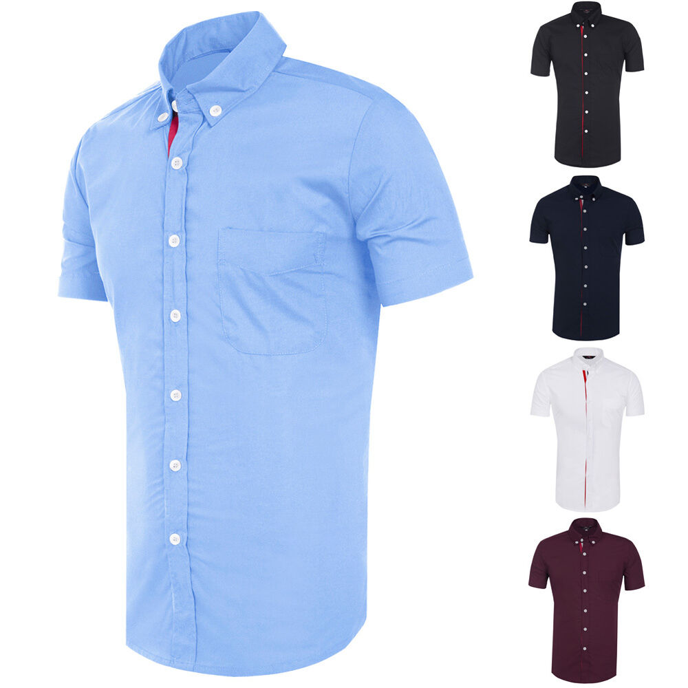 Stylish mens slim fit button down formal casual shirts for Slim button down shirt