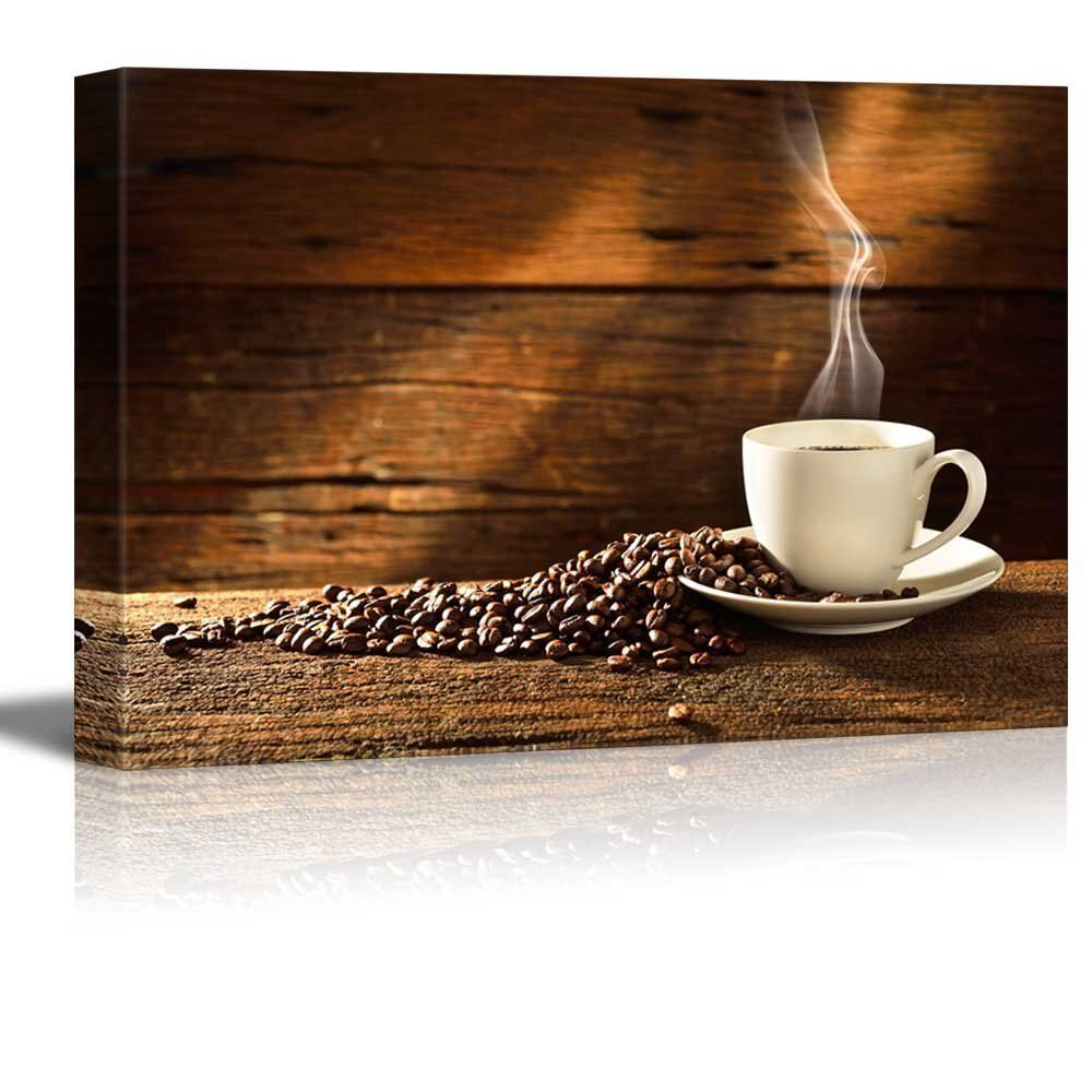 Set Of 3 Coffee Cup Canvas Wraps: Coffee Cup And Coffee Beans On