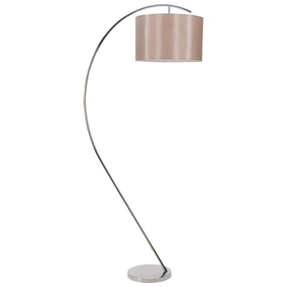 Clearance 1 lt curved arm floor lamp w beige shade modern for Next large curved arm floor lamp